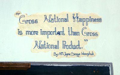Slogan sur le mur de l'école des arts traditionnels de Thimphou.